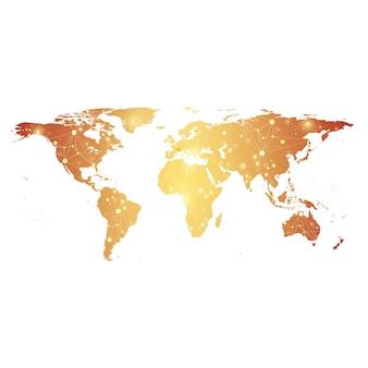 Gouden politieke wereldkaart met wereldwijd technologienetwerkconcept. digitale datavisualisatie. wetenschappelijke cybernetische deeltjesverbindingen. big data achtergrondcommunicatie. vector illustratie.