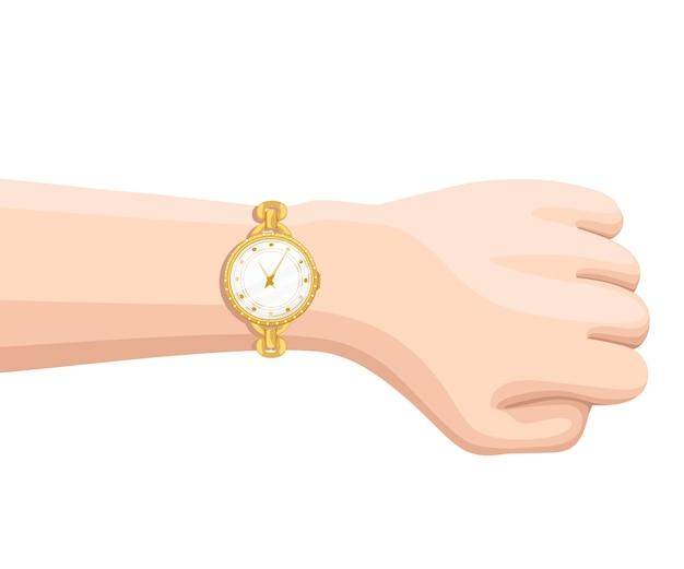 Gouden polshorloge met gouden band bij de hand. tijd op polshorloge. illustratie