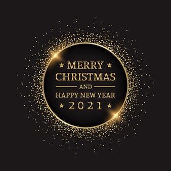Gouden prettige kerstdagen en gelukkig nieuwjaar 2021 in cirkel glitter op zwarte kleur achtergrond
