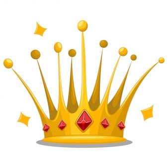 Gouden prinses kroon met rode sieraden edelstenen