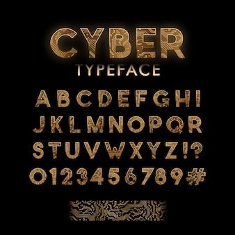 Gouden printplaat patroon lettertype.