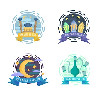 Gouden ramadan kareem emblemen badges