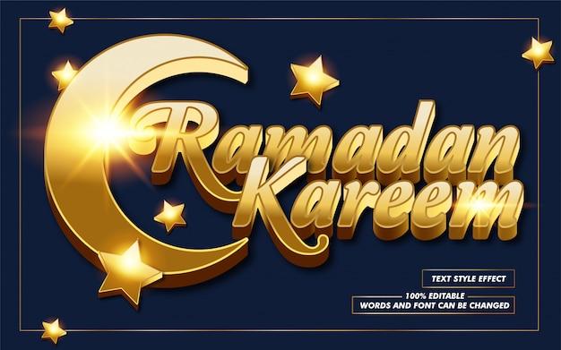 Gouden ramadan kareem tekststijleffect