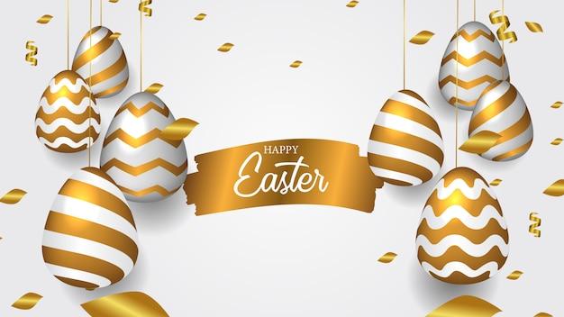 Gouden realistisch decoratief gehangen ei voor pasen