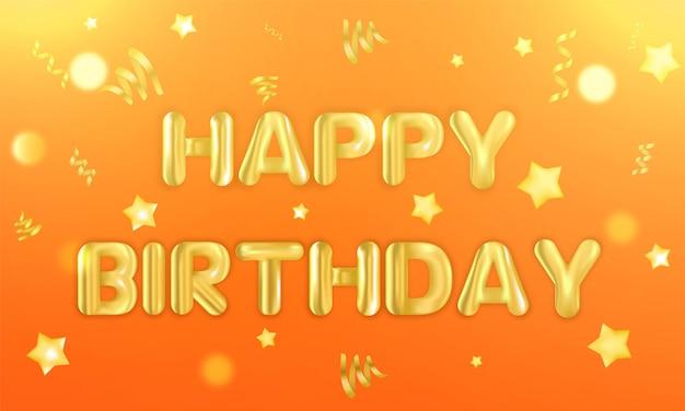 Gouden realistische ballonnen gevuld met helium met tekst gelukkige verjaardag.