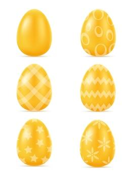 Gouden realistische paaseieren illustratie geïsoleerd op een witte achtergrond