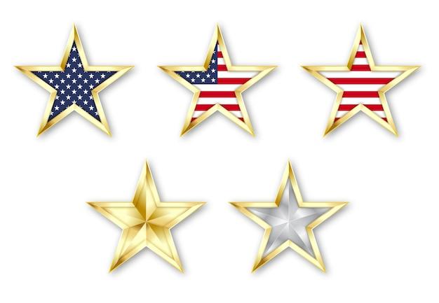 Gouden realistische ster instellen met amerikaanse vlag zilveren en gouden ster