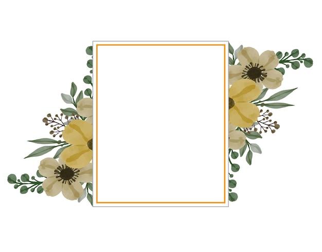 Gouden rechthoek frame met gele bloemen aquarel