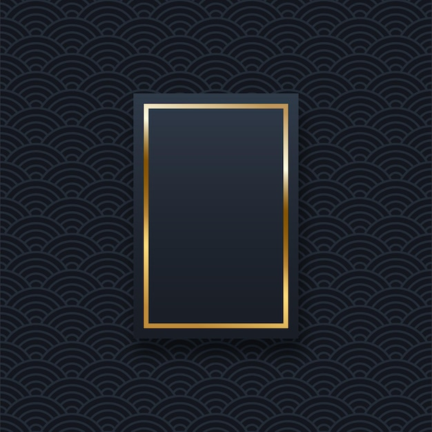 Gouden rechthoek frame sjabloon met tekst ruimte chinese oosterse golven patroon webbanner achtergrond