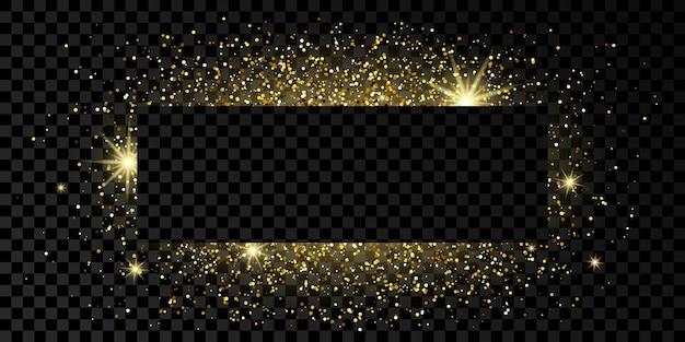 Gouden rechthoekig frame met glitter, sparkles en fakkels op donkere transparante achtergrond. lege luxe achtergrond. vector illustratie.