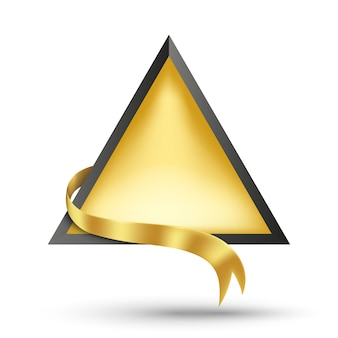 Gouden reclamebord en gouden lint vectorillustratie voor promotie en posterinformatie