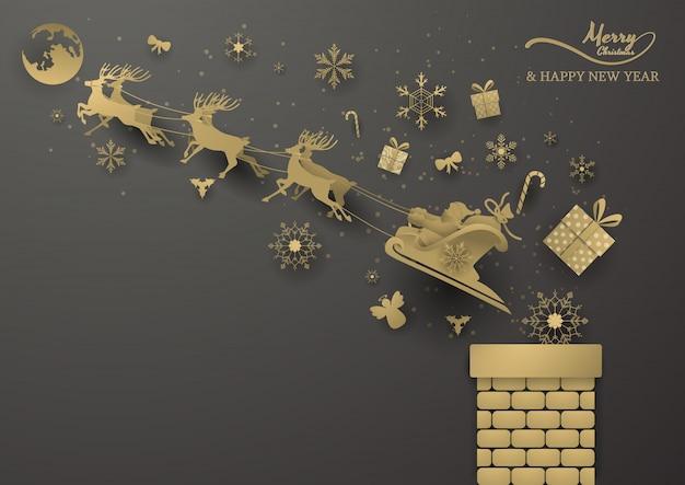 Gouden rendieren en kerstman kaart
