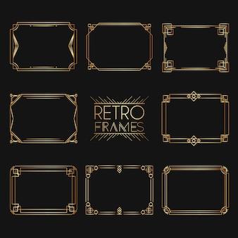 Gouden retro frames. collectie gouden premium promo zegels / stickers.