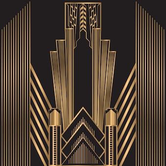 Gouden retro lijnen frame achtergrond
