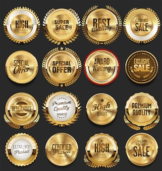 Gouden retro vintage badges en labels