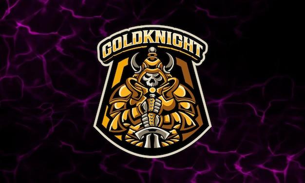 Gouden ridder awesome mascotte esport logo sjabloon