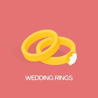 Gouden ring en ring met grote, glanzende diamanten vectorillustratie.