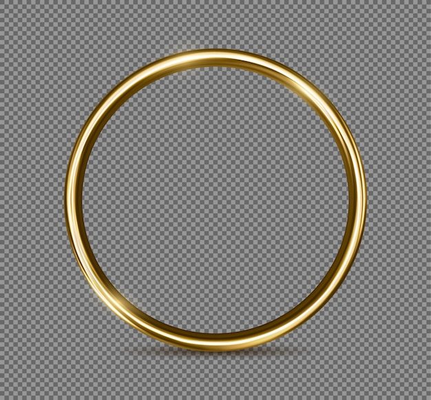 Gouden ring geïsoleerd op transparante achtergrond. realistisch