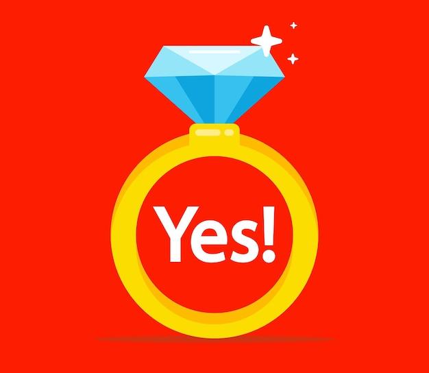 Gouden ring met een diamant. huwelijksaanzoek. platte vectorillustratie.