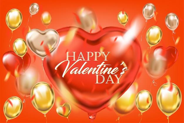 Gouden rode ballonnen met happy valentijnsdag