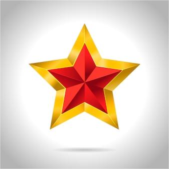 Gouden rode ster 3d kunst