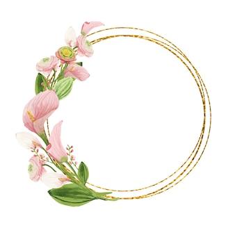 Gouden ronde frame met roze aquarel bloemen