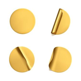 Gouden ronde verfrommelde stickers met afbladderende hoekset.