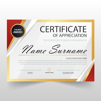 Gouden rood elegant horizontaal certificaat met vector illustratie