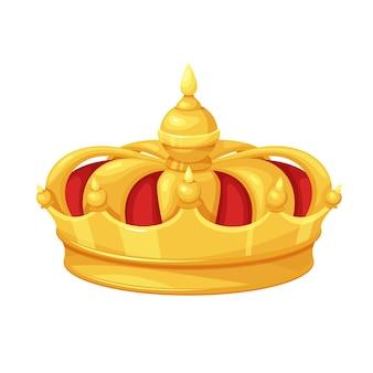 Gouden rood fluwelen kroon. winnaar eerste plaats, koninklijke gouden sieraden, rijkdom. geïsoleerde vector icoon van gouden triomf eerste plaats cartoon stijl.