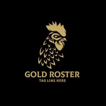 Gouden rooster logo vector ontwerpsjabloon