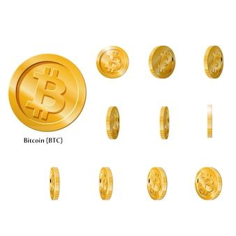 Gouden rotate bitcoin-munten