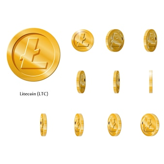 Gouden rotate litecoin munten