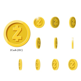 Gouden roterende zcash-munten