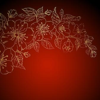 Gouden sakura bloemen op een rode achtergrond