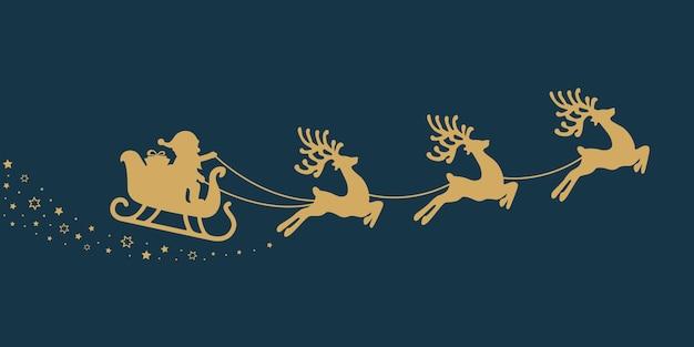 Gouden santa slee sterren blauwe achtergrond