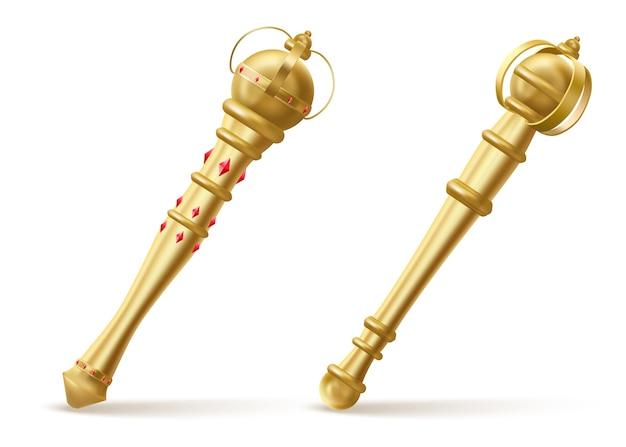Gouden scepters voor koning of koningin, koninklijke toverstaf met rode edelstenen illustratie