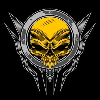 Gouden schedel in cirkel
