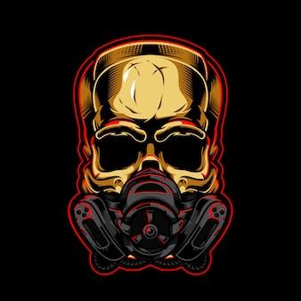 Gouden schedel met gasmasker illustratie