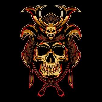 Gouden schedel met samurai helm illustratie