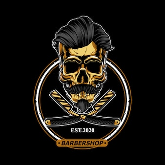 Gouden schedel voor barbershop logo