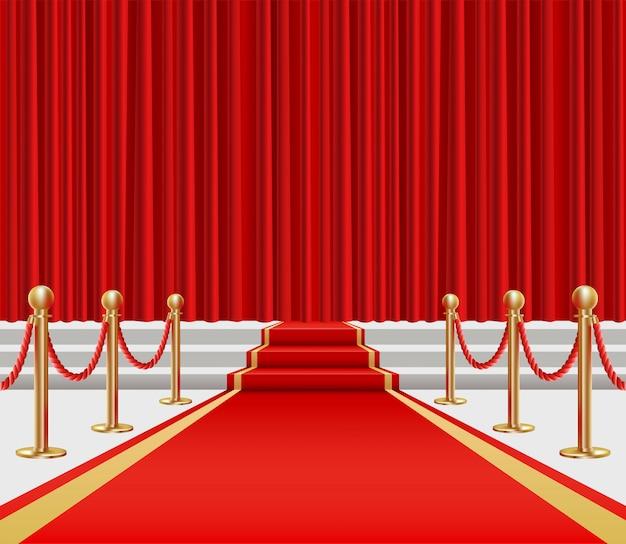 Gouden schermen en rode loper met een opkomst op het podium.