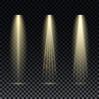 Gouden schijnwerper. heldere verlichting met schijnwerpers