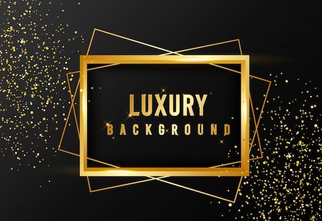 Gouden schittering en luxe frame achtergrond