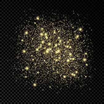 Gouden schittert glinsterende achtergrond op een donkere transparante achtergrond. achtergrond met goud glitter effect. lege ruimte voor uw tekst. vector illustratie