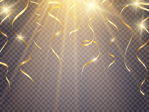 Gouden serpentine en confetti geïsoleerd op zwarte achtergrond vectorillustratie