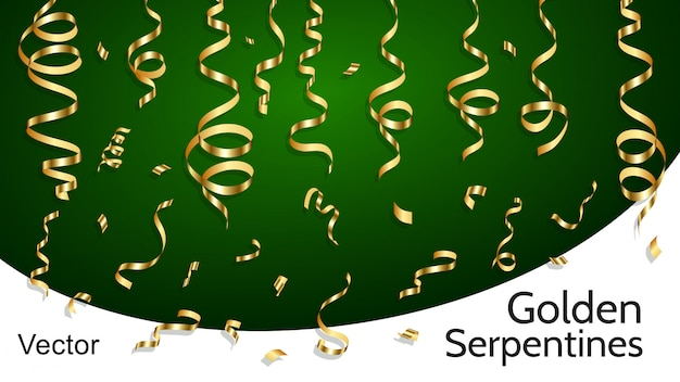 Gouden serpentines. realistische clipart-objecten. gouden serpentijn, decoratie-elementen.