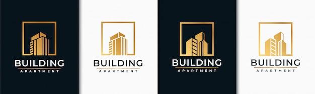 Gouden set gebouw logo ontwerp inspiratie