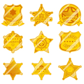 Gouden sheriff ster badges. politie en wet, autoriteit en gerechtigheid, marshall-ster.