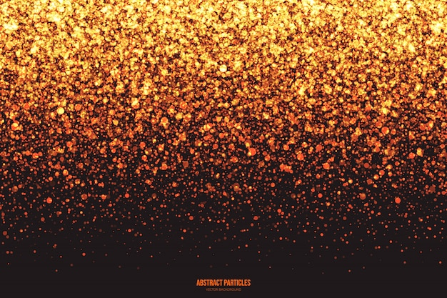 Gouden shimmer gloeiende vallende deeltjes abstracte achtergrond