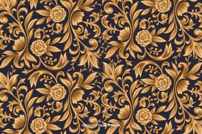 Gouden sier artistieke bloemenachtergrond